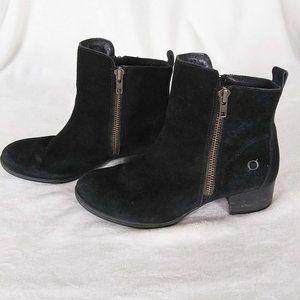 Born Landa Black Suede Heeled Ankle Boots
